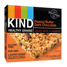 KIND Healthy Grains Granola Bar, Peanut Butter Dark Chocolate, 5 Bars, Gluten Free, Healthy Grains Bars