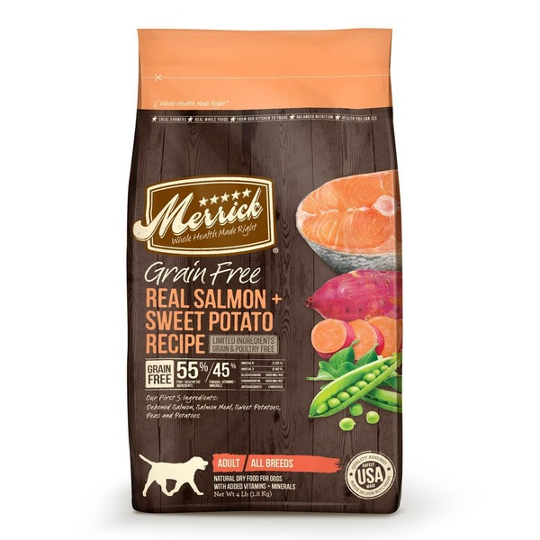 Merrick Grain Free Real Salmon & Sweet Potato Recipe Limited Ingredients Adult All Breeds Dog Food