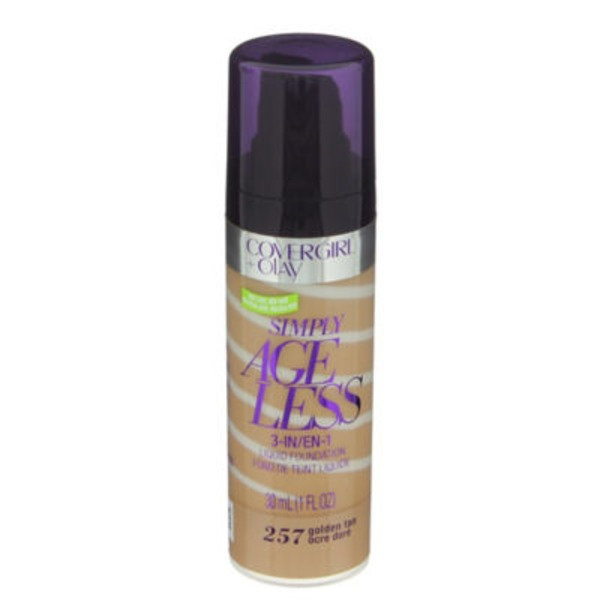 CoverGirl Simply Ageless COVERGIRL+Olay Simply Ageless 3-in-1 Foundation, Golden Tan 1 fl oz (30 ml) Female Cosmetics
