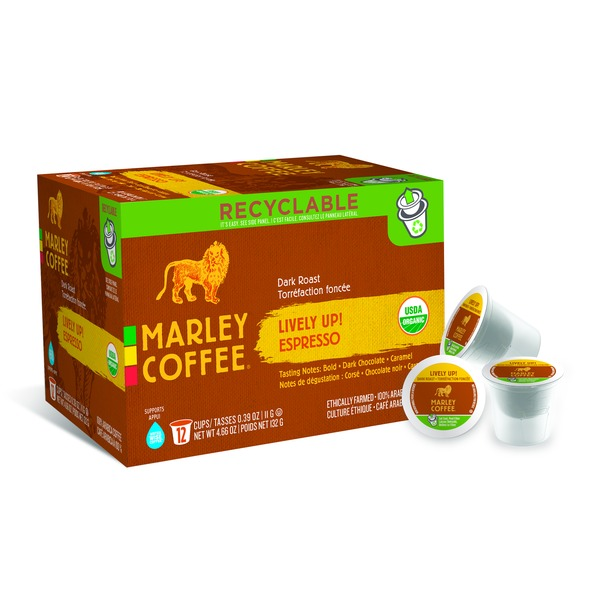 Marley Coffee Lively Up! K-Cup Pods Dark Roast Espresso - 12 CT