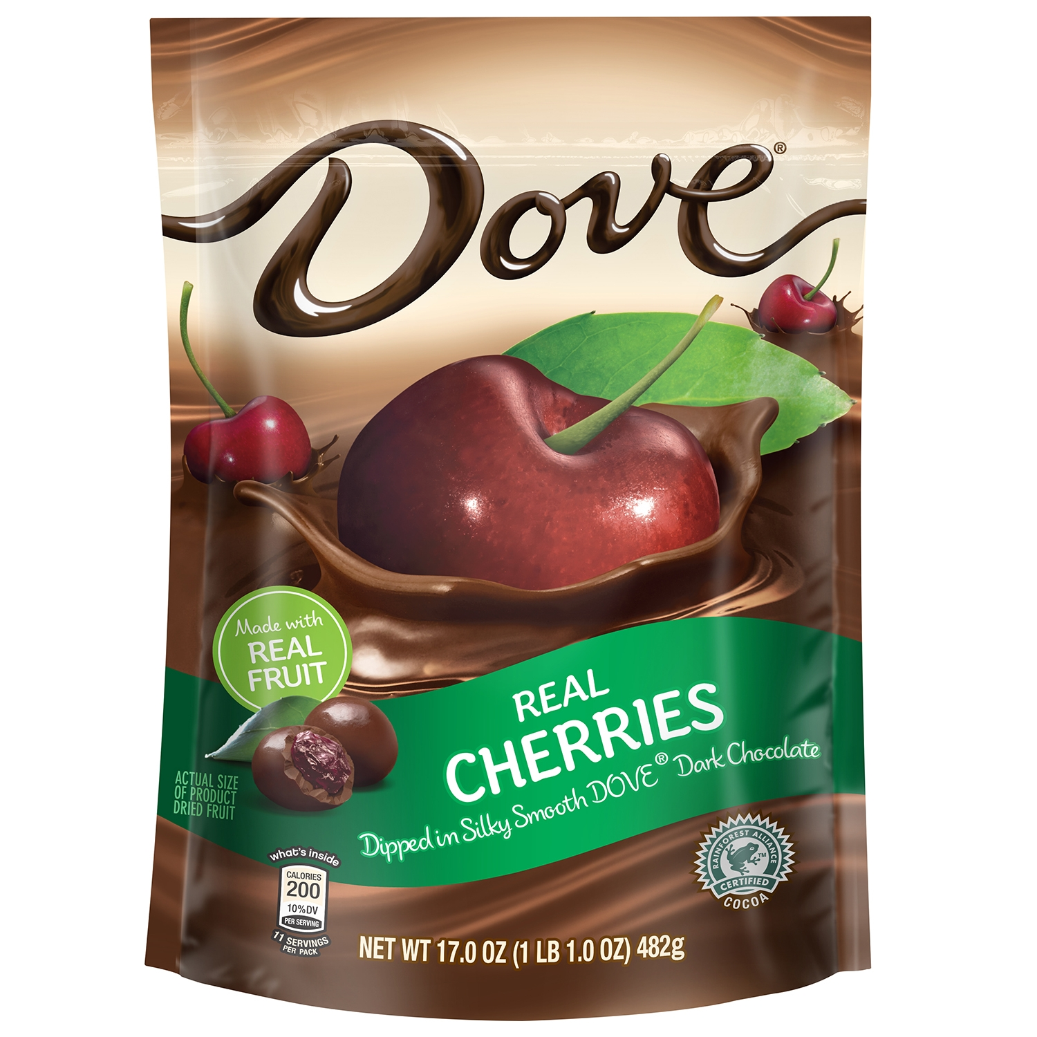 Dove Fruit Dark Chocolate With Real Cherries Snack Pouch