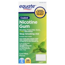 Equate Coated Nicotine Cool Mint Gum, 2 mg, 20 Ct