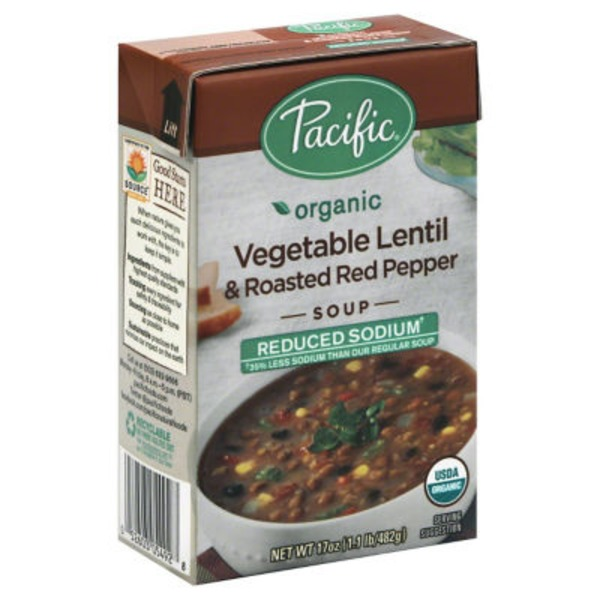 Pacific Reduced Sodium Vegetable Lentil & Roasted Red Pepper Organic Soup