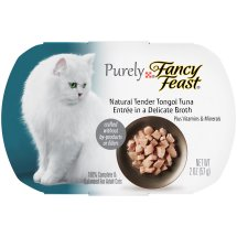 Purely Fancy Feast Cat Food Natural Tender Tongol Tuna Entree in a Delicate Broth, 2.0 OZ