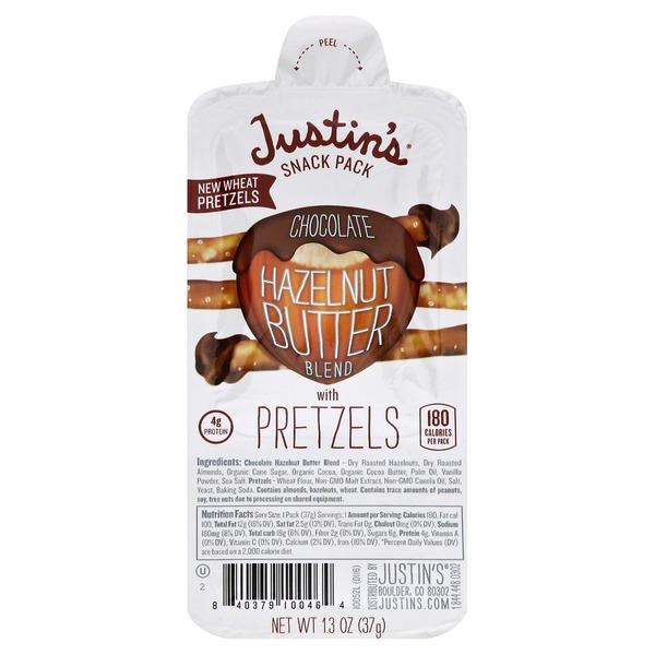 Justin's Snack Pack, Chocolate Hazelnut Butter Blend with Pretzels