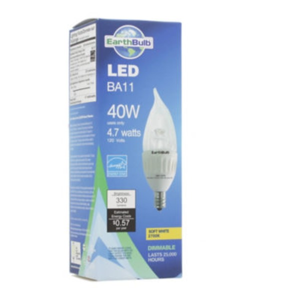 EarthBulbs Ba11 4.7 W 2700 K Bent Tip Dimmable Bulb