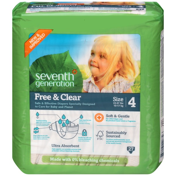 Seventh Generation Baby Free & Clear Stage 4 27-37 Lbs. Diapers