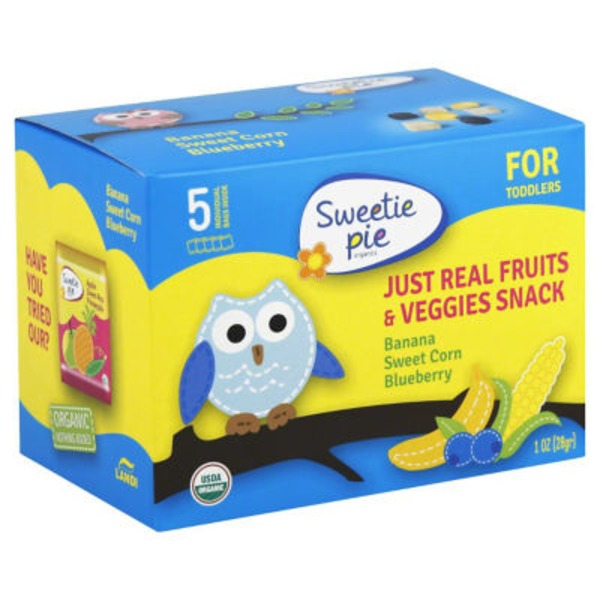 Sweetie Pie For Toddlers, Just Real Fruits & Veggies Snacks, Banana, Blueberry, Sweet Corn, 5 Pack, Box