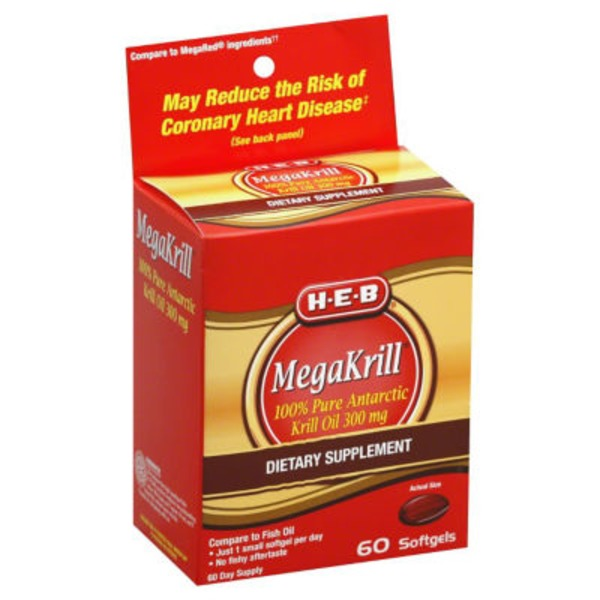 H-E-B Mega Krill 300 Mg Softgels