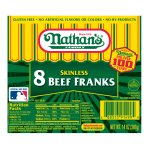 Nathan's Famous Original Skinless Beef Franks, Great to Grill, Roast or on the Warmer, 8 Hotdogs per package