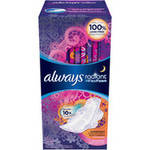 Always Radiant Overnight Scented Pads with Wings