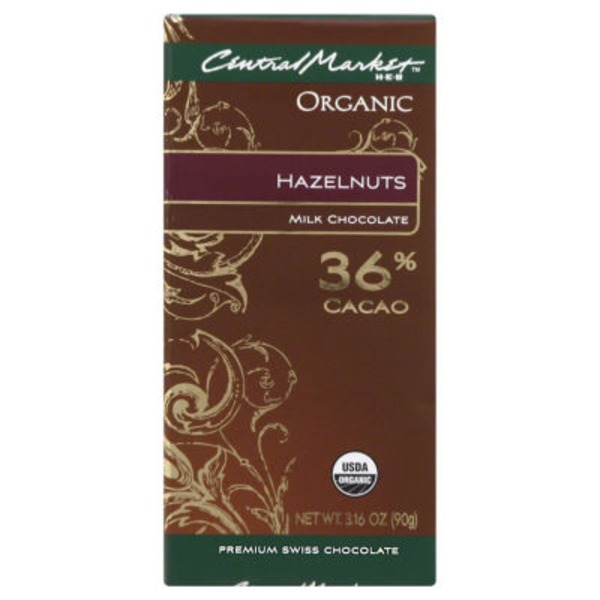 Central Market Organic 36% Cacao Milk Chocolate With Hazelnuts