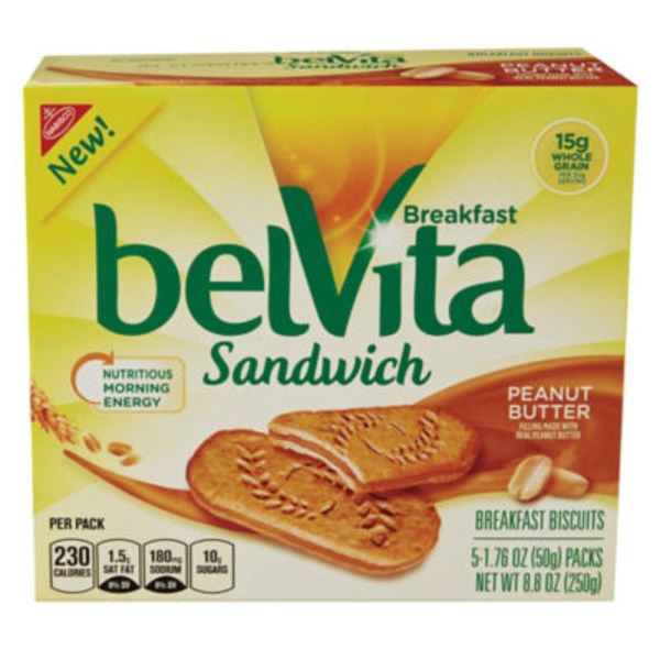 Nabisco Belvita Sandwich Peanut Butter Breakfast Biscuits