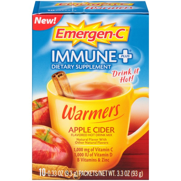 Emergen-C Immune+ Warmers Apple Cider Drink Mix Dietary Supplement