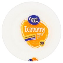 Great Value Economy Paper Plates, 9', 90 Count