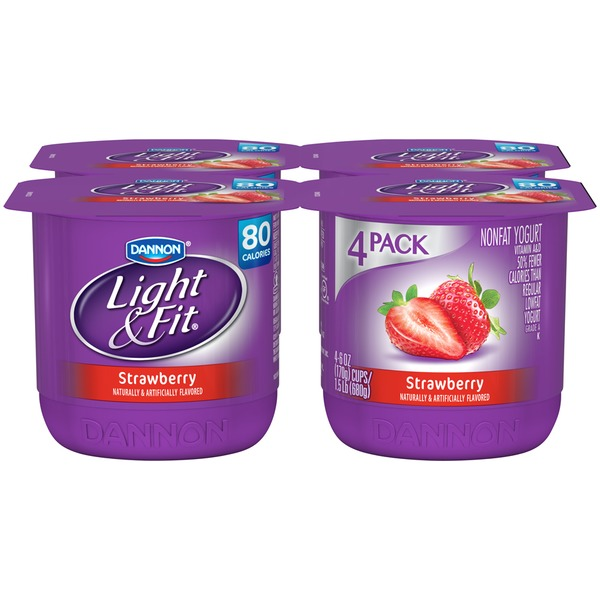 Dannon Light & Fit Strawberry 6 Oz Light & Fit Nonfat Yogurt