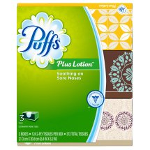 Puffs Plus Lotion Facial Tissues, 3 Family Boxes, 124 Tissues per Box