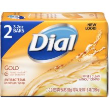 Dial Antibacterial Deodorant Bar Soap, Gold, 3.2 Oz, 2 Ct