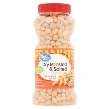 Great Value Dry Roasted & Salted Peanuts, 16 oz