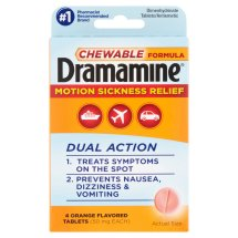 Dramamine Chewable Formula Orange Flavored Dimenydrinate Tablets, 4 count