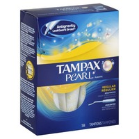 Tampax Pearl Tampax Pearl Plastic Regular Absorbency, Unscented Tampons 18 Count  Feminine Care