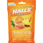 Halls Base Tropical Fruit Cough Suppressant/Oral Anesthetic Menthol Drops