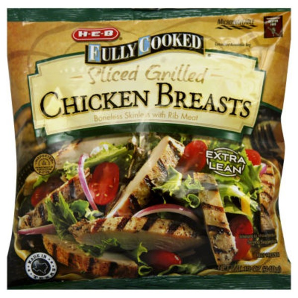 H-E-B Fully Cooked Sliced Grilled Chicken Breasts