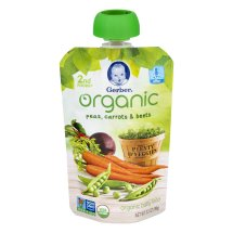 Gerber Organic 2nd Foods Baby Food, Peas, Carrots & Beets, 3.5 oz Pouch