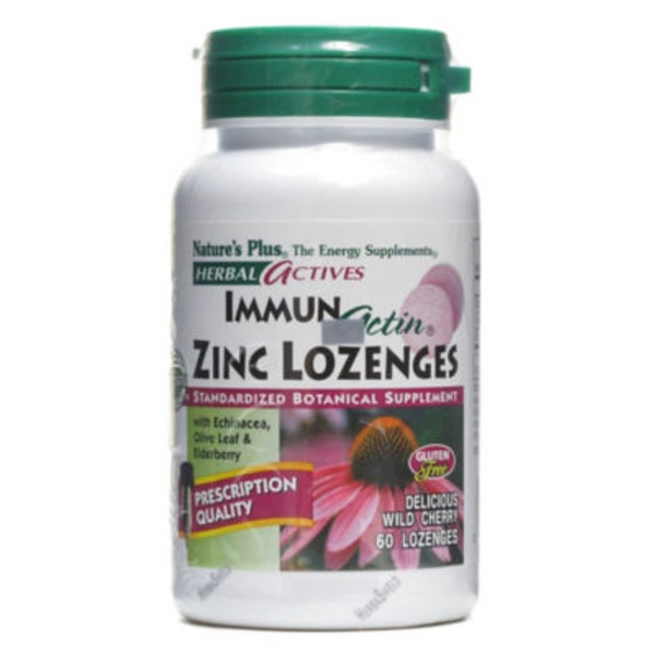 Nature's Plus Herbal Actives Immun Actin Zinc Wild Cherry Lozenges