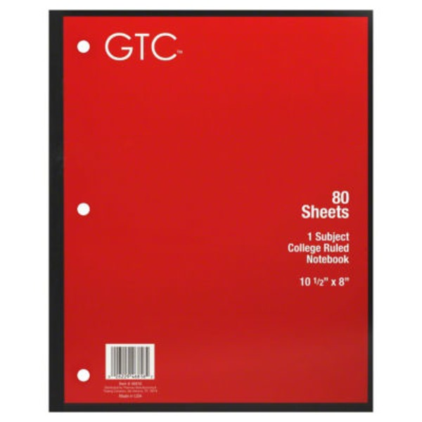 GTC 1 Subject College Ruled Notebook 80 Sheets, 10 1/2 in X 8 in