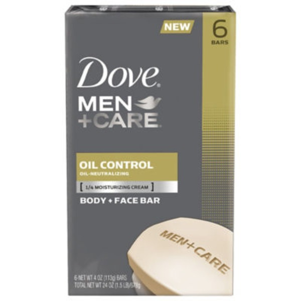 Dove Men + Care Body + Face Bar Oil Control - 6 CT