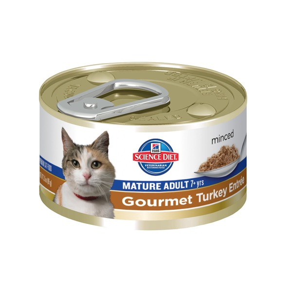 Hill's Science Diet Cat Food, Minced, Mature Adult (7+ Years), Gourmet Turkey Entr�e