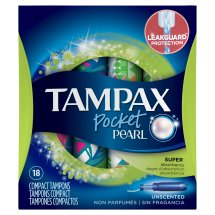 Tampax Pocket Pearl Tampons with Plastic Applicator, Super, Unscented, 18 Ct