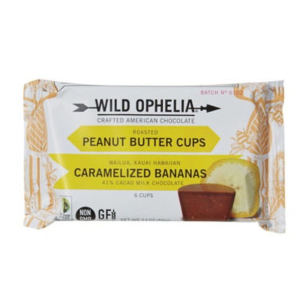 Wild Ophelia Peanut Butter cups Caramelized Bananas 41% Cacao Milk Chocolate - 6 CT