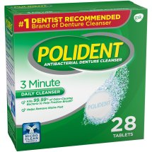 Polident® 3 Minute Triple Mint Antibacterial Daily Denture Cleanser Effervescent Tablets 28 ct Box