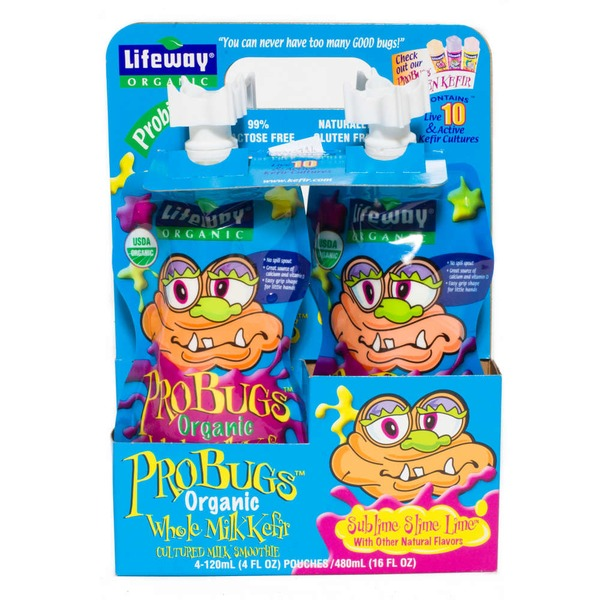 Lifeway Organic ProBugs Organic Whole Milk Kefir Sublime Slime Lime - 4 CT