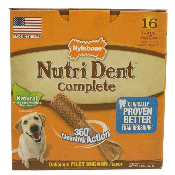 Nylabone Nutri Dent Complete Filet Mignon Flavor Dental Chew For Adult Dogs Large Pack