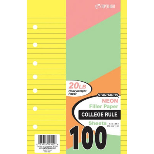 Top Flight 8.5 Inch X 5.5 Inch College Rule Neon Filler Paper 100 Sheets