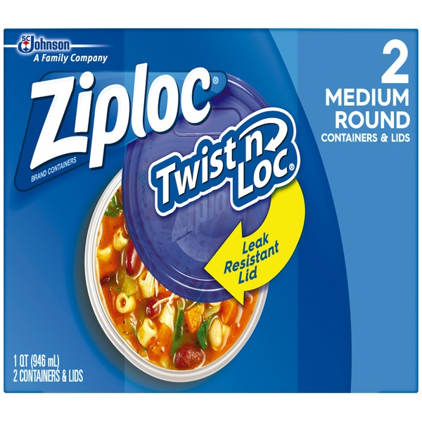 Ziploc Twist 'n Loc Medium Round Containers & Lids