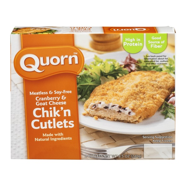 Quorn Meatless & Soy-Free Chik'n Cutlets Cranberry & Goat Cheese - 2 CT