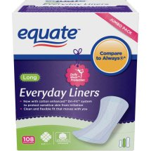 Equate Everyday Liners, Long, Unscented, 108 Ct