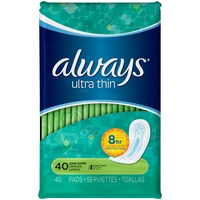 Always Thin Ultra Always Ultra Thin Super Pads Without Wings 40 count Feminine Care