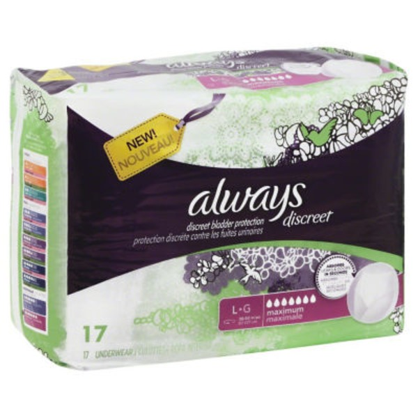 Always Discreet Always Discreet, Incontinence Underwear, Maximum Classic Cut, Large, 17 Count Feminine Care
