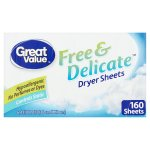 Great Value Free & Delicate Dryer Sheets, 160 Sheets
