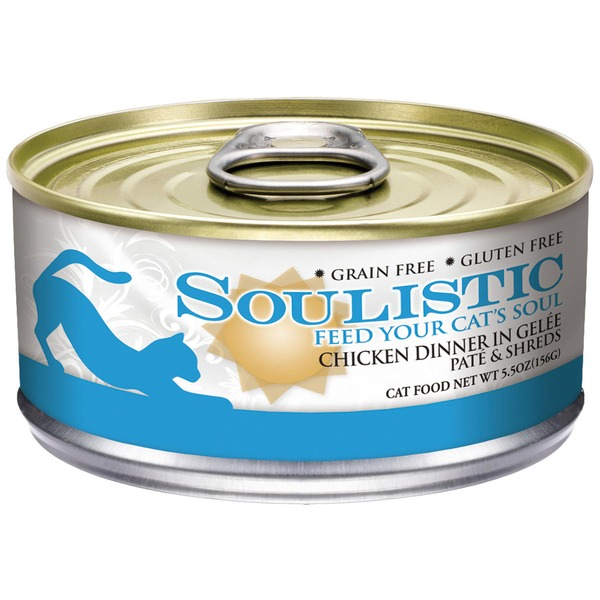 Soulistic Grain Free Gluten Free Chicken Dinner in Gelee Pate & Shreds Cat Food