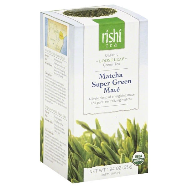 Rishi Tea Green Tea, Organic, Matcha Super Green Mate, Loose Leaf