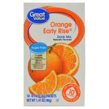 Great Value Drink Mix, Orange Early Rise, Sugar-Free, 1.41 oz, 10 Count