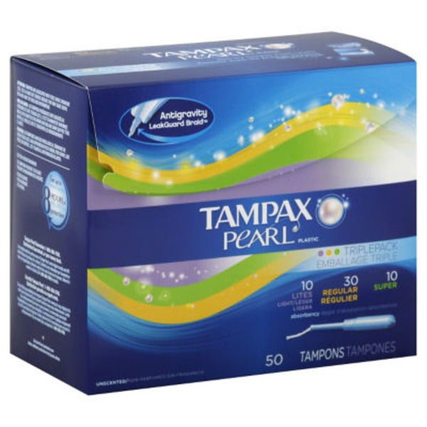 Tampax Pearl Tampax Pearl Plastic Triplepack, Unscented Tampons 50 Count  Feminine Care