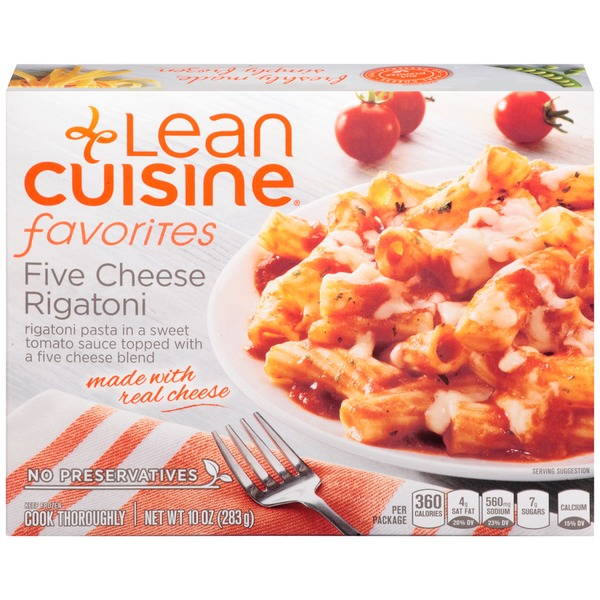 Lean Cuisine Favorites Rigatoni pasta in a sweet tomato sauce topped with a five cheese blend. Five Cheese Rigatoni