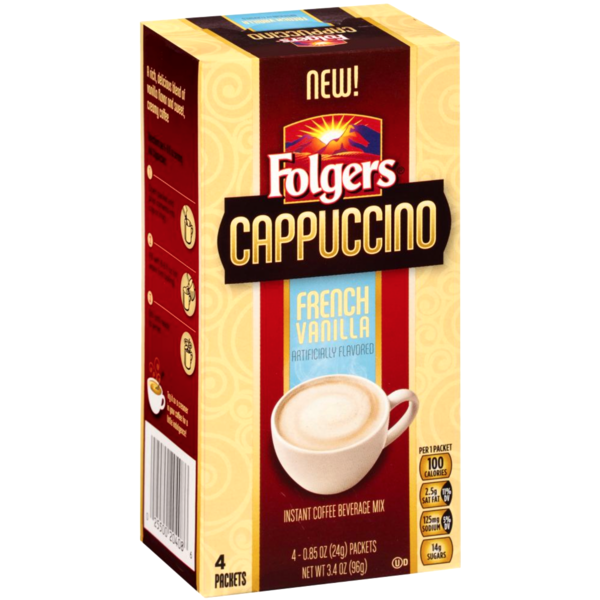 Folgers Cappuccino French Vanilla Coffee Beverage Mix